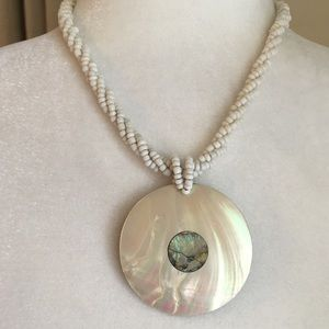 Mother of Pearl Abalone Statement Beaded Necklace